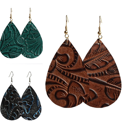 Leather Embossed Teardrop Earrings