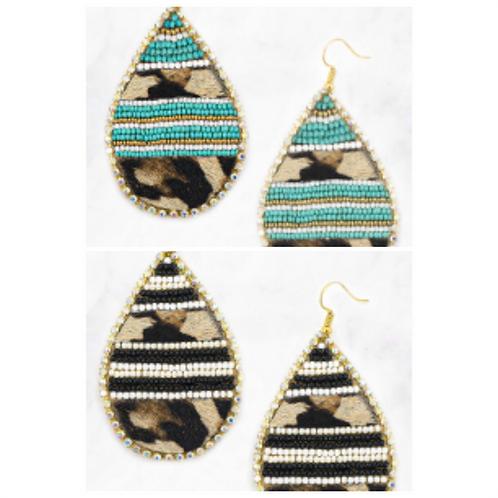 Leopard Tear Drop Bead Earrings