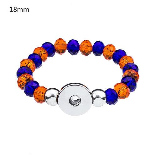 Orange & Blue Beaded Stretch Bracelet