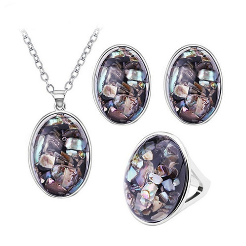 Oval Shell Stone Set - Necklace, Ring, & Earrings