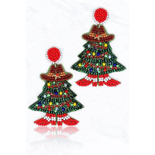 Cowboy Hat Christmas Tree Earrings