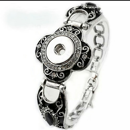 Black Rhinestone Snap Bracelet
