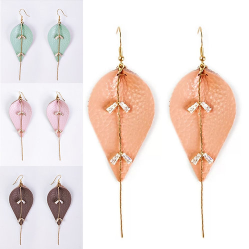Leather Rhinestone Dangle Earrings
