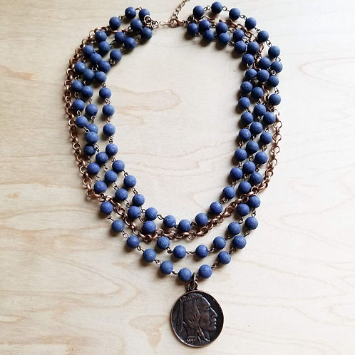 Frosted Blue Lapis Collar-Length Necklace with Copper Indian Head Coin