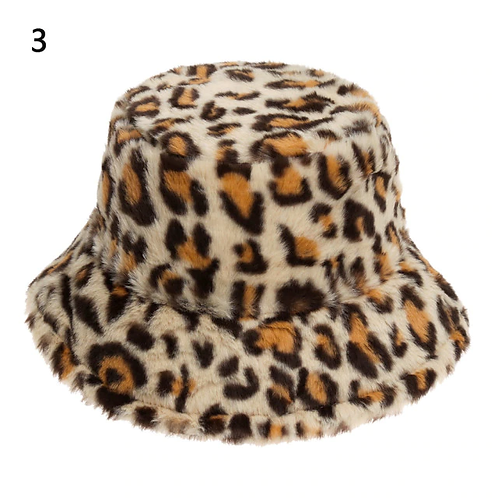 Faux Fur Leopard Bucket Hat