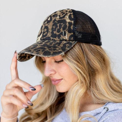 PS Distressed Leopard Baseball Cap