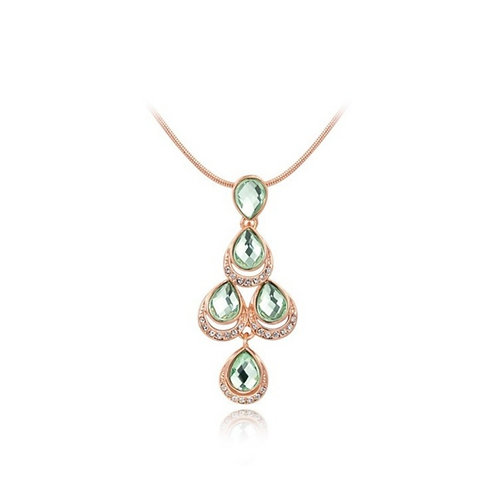Green Austrian Crystal Rose Gold Necklace