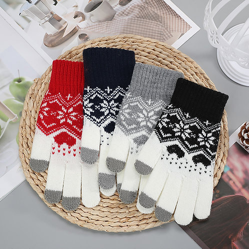Knit Touch Screen Snowflake Gloves