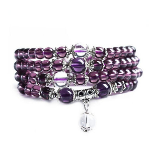 Amethyst Beaded Wrap Braclet