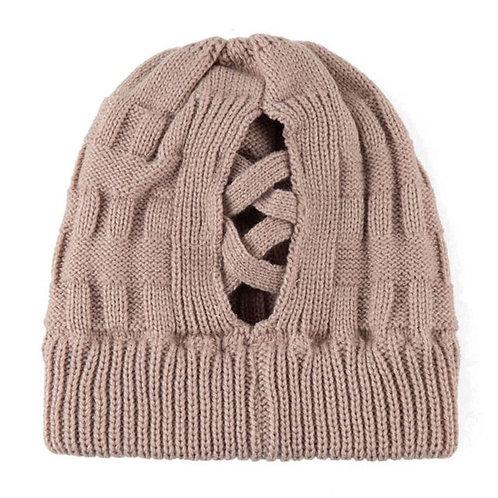 Knit Ponytail Beanie Hat