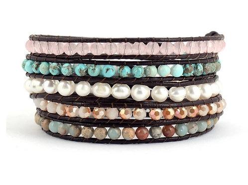 Bohemian Multicolor Leather Wrap Bracelet