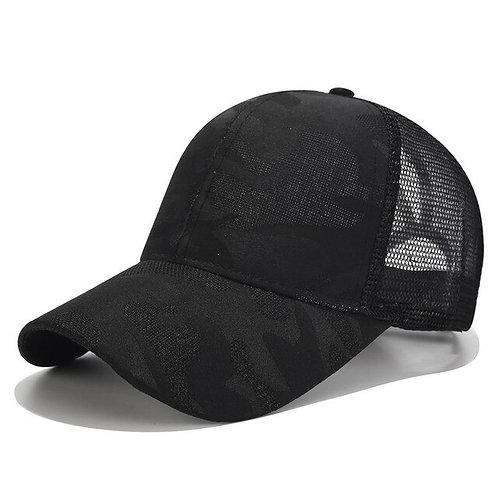 Black Camo Ponytail Baseball Cap