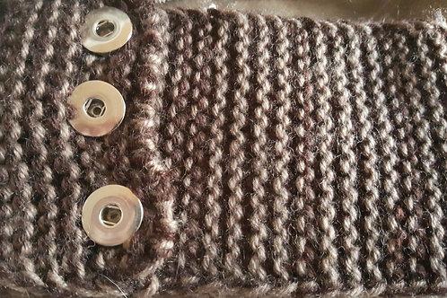 Brown/Tan Snap Knit Head Band