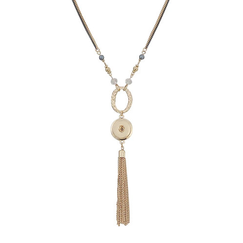 Gold Beaded Tassle Necklace