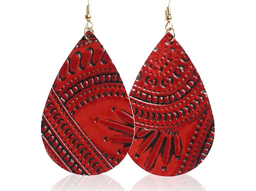 Red Leather Embossed Earrings