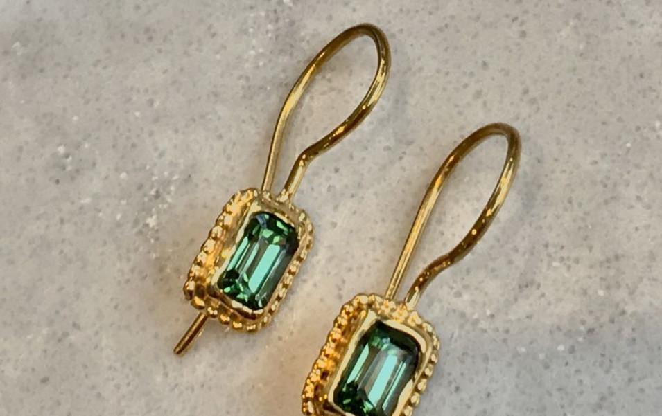Tourmaline Beaded Earrings