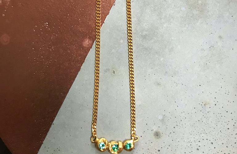 22K gold plated Emerald trio necklace