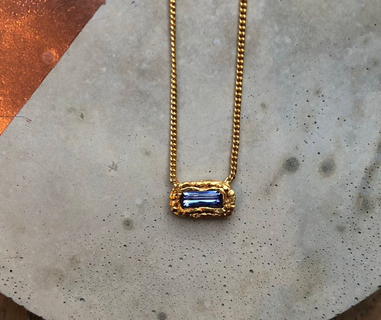 22K gold plated Tanzanite necklace