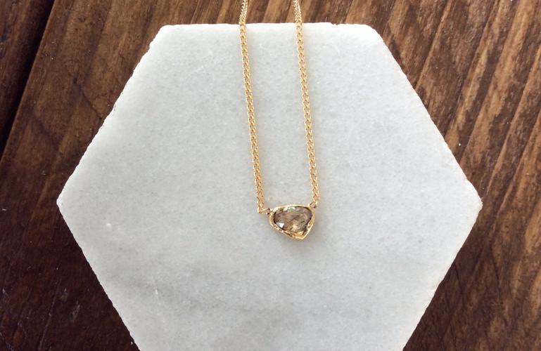 18K rose cut Diamond necklace