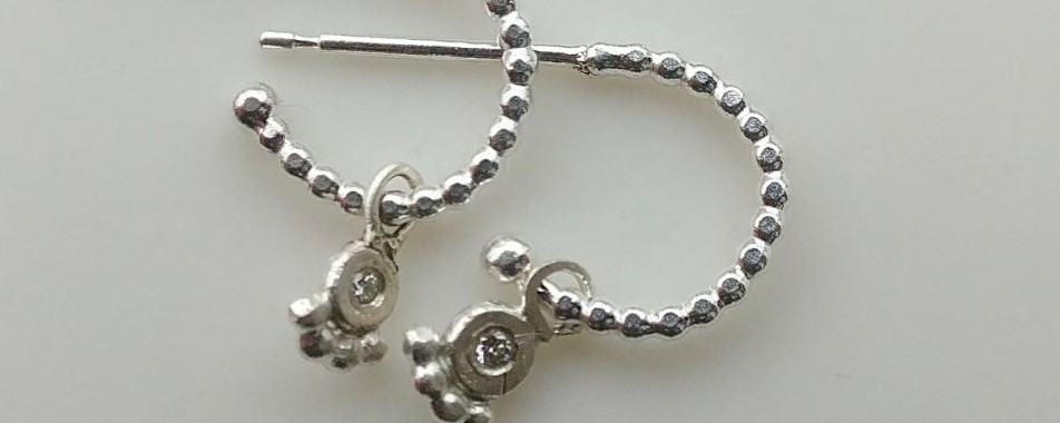 Silver Textured Hoop & Diamond charms