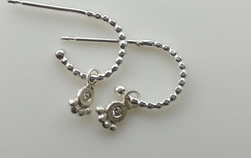 Silver Textured Hoop & Diamond charms