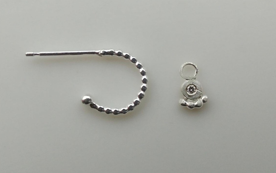 Individual Silver Textured Hoop and Diamond charm