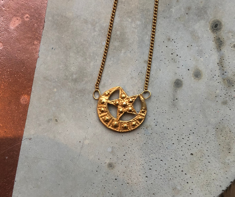 22K gold plated moon and star necklace