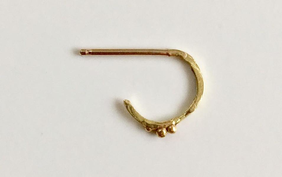 18 Carat Gold Mini Textured Hoop