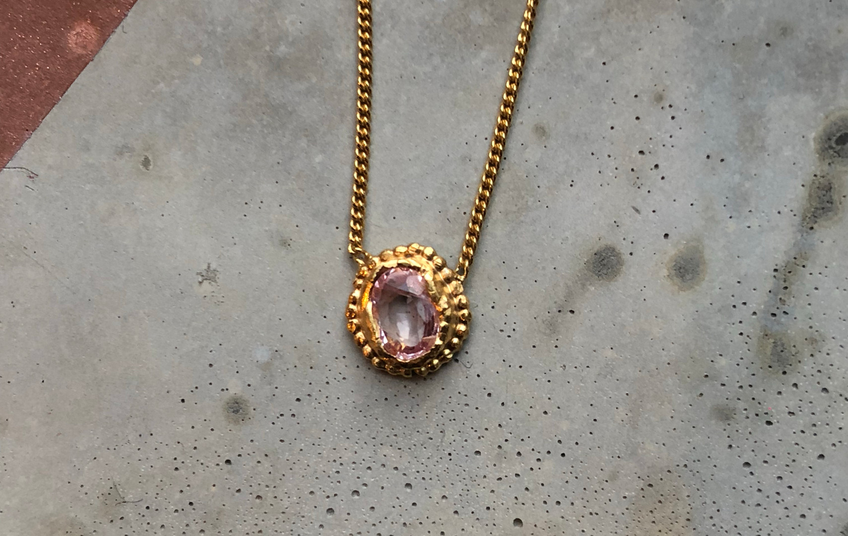 22K gold plated pink Sapphire necklace