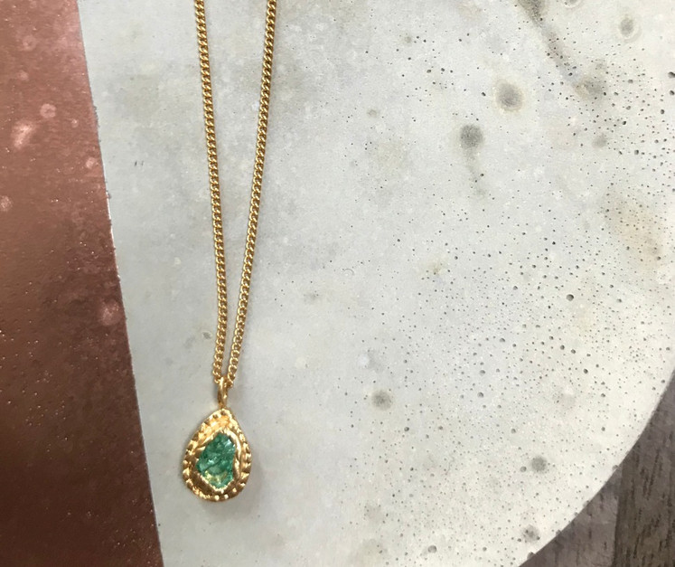 22K gold plated Colombian Emerald pear necklace