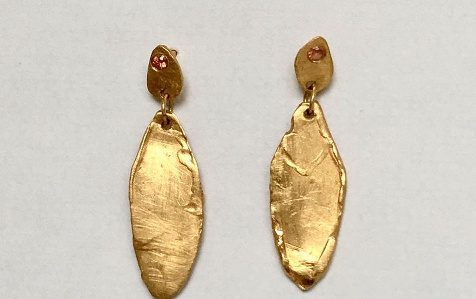 Sapphire Leaf Drop Earrings