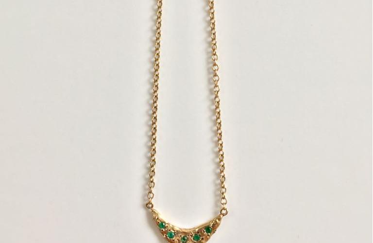 Emerald crescent necklace