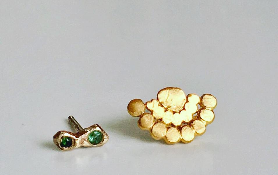9 carat gold Tourmaline Stud & gold plated Fan Stud