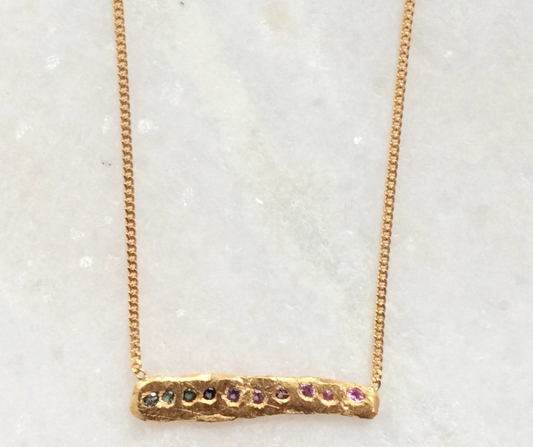22K gold plated rainbow sapphire bar necklace