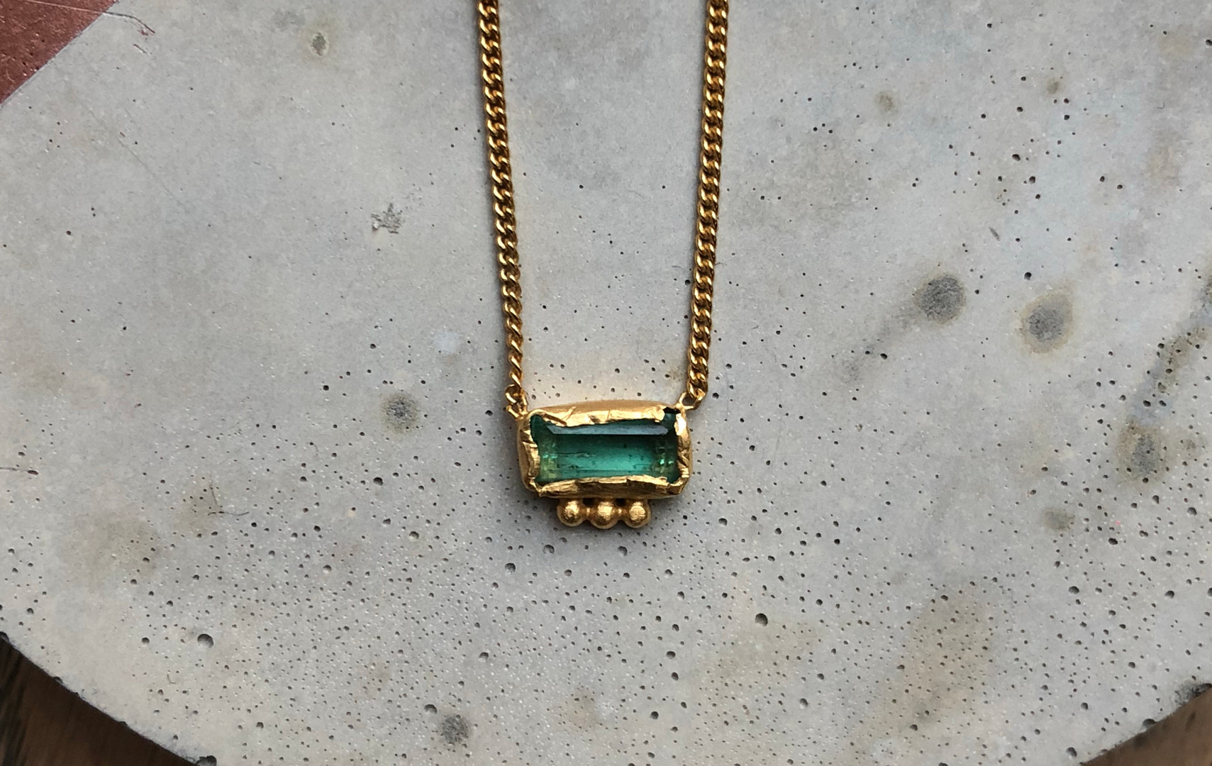 22K gold plated Emerald necklace