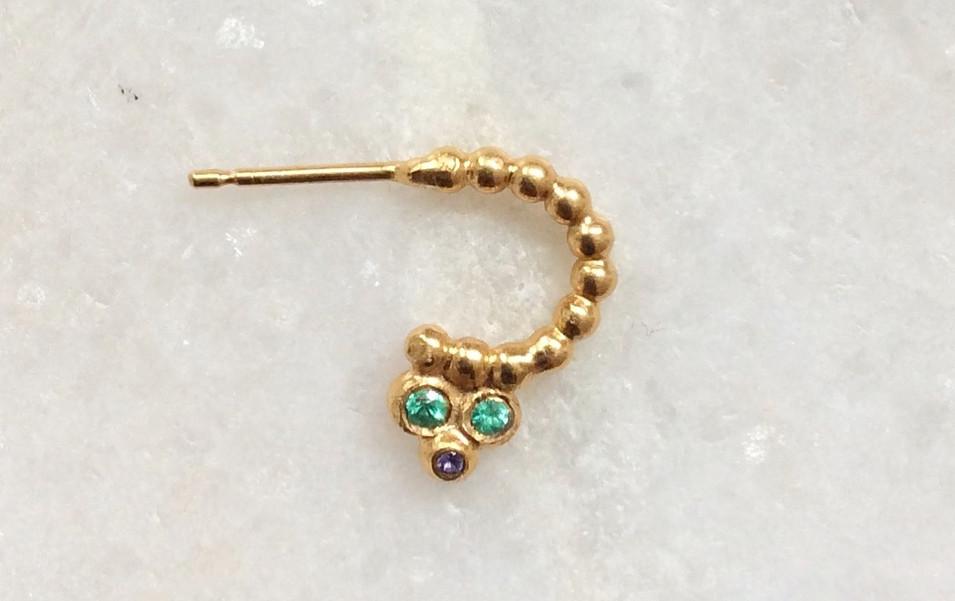 Emerald and Sapphire Mini Textured Hoop Earring