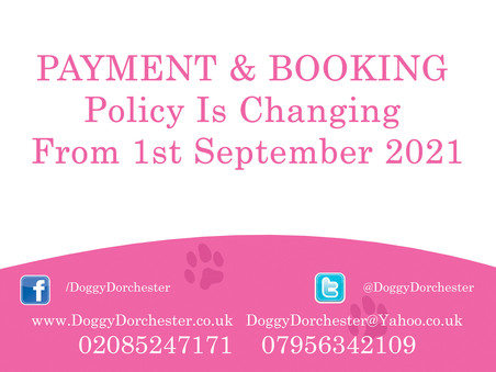 PAYMENT and BOOKING policy is changing from 1/9/21