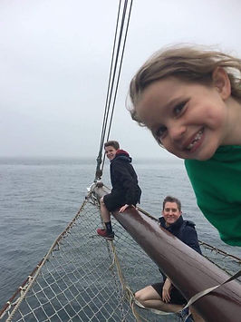 Moonfleet Sailing Kids on the Boomsprit