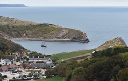 Moonfleet Sailing at Lulworth Cove  by L