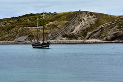 Moonfleet Sailing at Lulworth Cove by Li