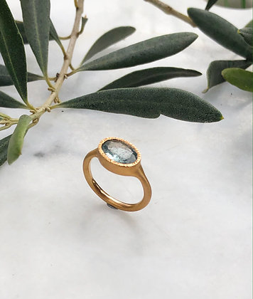 Moss Aquamarine Gold Plated Ring