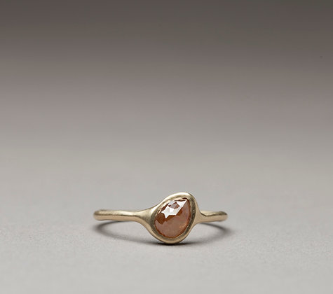 Rough Rose Cut Pear Diamond Ring