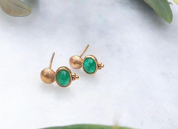 Emerald 9ct Yellow Gold Earrings