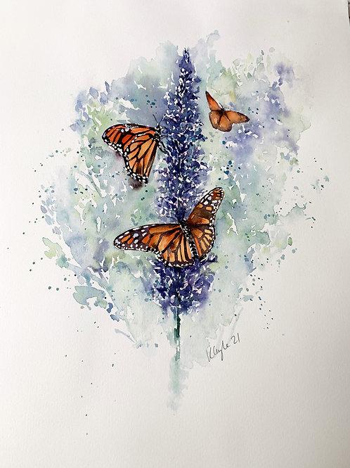 Original Watercolour - Budliea and Butterflies
