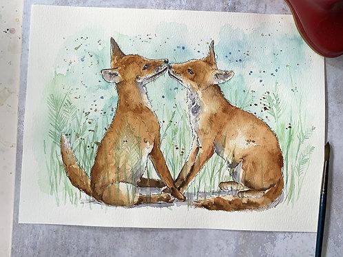 Original Watercolour -Fox Kiss