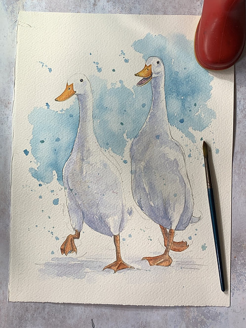 Original Watercolour - Runner Ducks