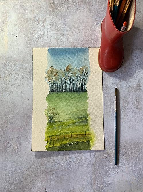Original Watercolour - English countryslice