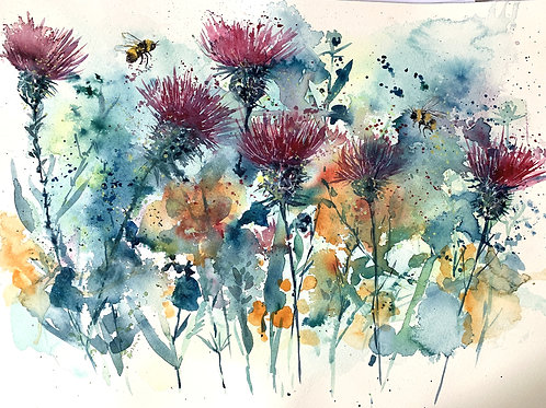 Original Watercolour - Thistles and Bees