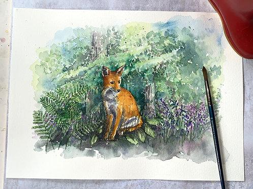 Original Watercolour -Fox in the woods