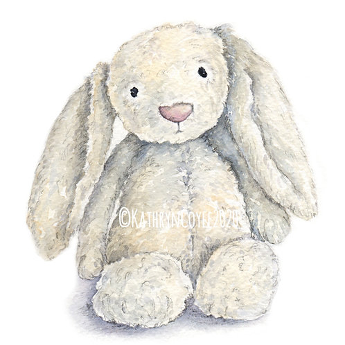 JellyCat Bunny Watercolour Print from watercolour painting